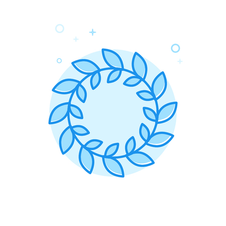 Caesars Crown of Leaves Flat Vector Icon. Laurel or Olive Wreath Symbol, Pictogram, Sign. Light Flat Style. Blue Monochrome Design. Editable Stroke. Adjust Line Weight. Design with Pixel Perfection.