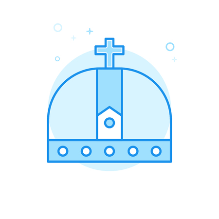 Christian Crown Flat Vector Icon. Royal Symbol, Pictogram, Sign. Light Flat Style. Blue Monochrome Design. Editable Stroke. Adjust Line Weight. Design with Pixel Perfection. Illustration