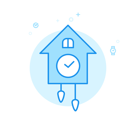 Cuckoo Clock Flat Vector Icon. Vintage Wooden Wall Clock Symbol, Pictogram, Sign. Light Flat Style. Blue Monochrome Design. Editable Stroke. Adjust Line Weight. Design with Pixel Perfection.