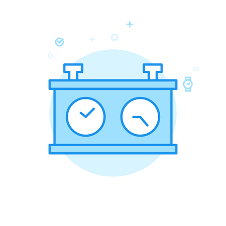 Chess Clock Flat Vector Icon. Dual Clockface Symbol, Pictogram, Sign. Light Flat Style. Blue Monochrome Design. Editable Stroke. Adjust Line Weight. Design with Pixel Perfection.