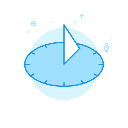 Icône de vecteur plat cadran solaire. Symbole De L'Horloge Ancienne, Pictogramme, Signe. Style plat léger. Conception monochrome bleue. Course modifiable. Ajustez l'épaisseur de ligne. Concevez avec Pixel Perfection.