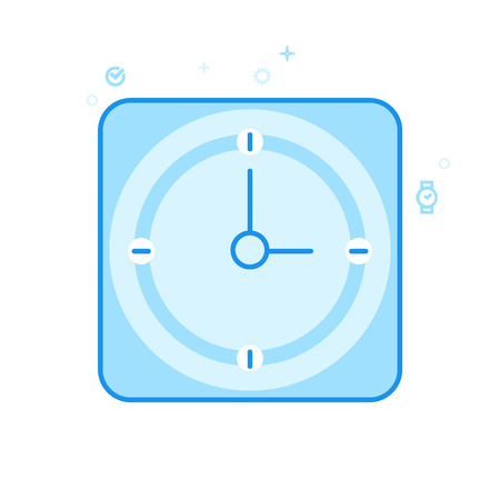 Square Clock Flat Vector Icon. Classic Office Wall Clock Symbol, Pictogram, Sign. Light Flat Style. Blue Monochrome Design. Editable Stroke. Adjust Line Weight. Design with Pixel Perfection.