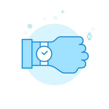 Watch on Hand Flat Vector Icon. Wrist Watch Symbol, Pictogram, Sign. Light Flat Style. Blue Monochrome Design. Editable Stroke. Adjust Line Weight. Design with Pixel Perfection.