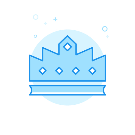 Royal Crown Flat Vector Icon. Luxury, Success Symbol, Pictogram, Sign. Light Flat Style. Blue Monochrome Design. Editable Stroke. Adjust Line Weight. Design with Pixel Perfection.