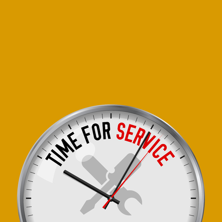 Zeit für den Dienst. Weiße Vektoruhr mit motivierendem Slogan. Analoge Metalluhr mit Glas. Vektor-Illustration auf einfarbigem Hintergrund isoliert. Werkzeugsymbol.