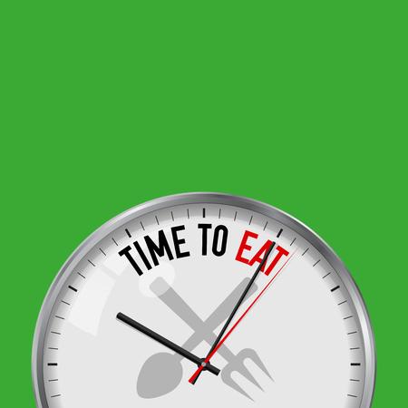 Ora di mangiare. Orologio vettoriale bianco con slogan motivazionale. Orologio analogico in metallo con vetro. Illustrazione vettoriale isolato su sfondo a tinta unita. Icona di cibo, forchetta e cucchiaio.
