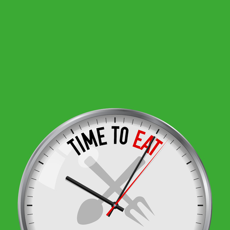 Time to Eat. White Vector Clock with Motivational Slogan. Analog Metal Watch with Glass. Vector Illustration Isolated on Solid Color Background. Food, Fork and Spoon Icon.