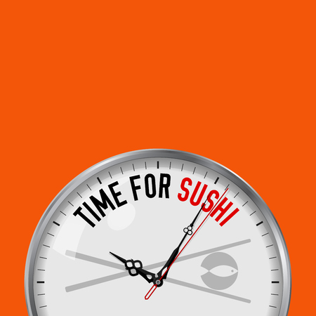 Time for Sushi. White Vector Clock with Motivational Slogan. Analog Metal Watch with Glass. Vector Illustration Isolated on Solid Color Background. Japanese Restaurant Icon.