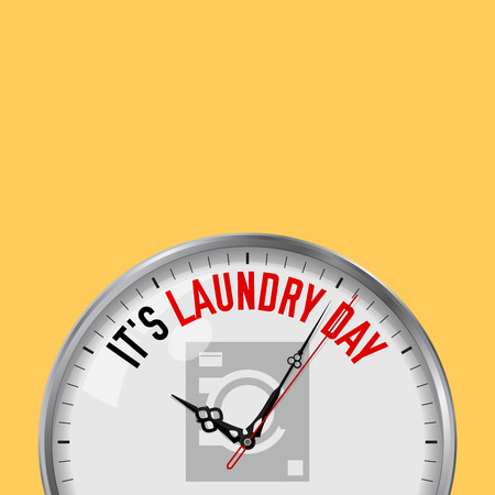 It's Laundry Day. White Vector Clock with Motivational Slogan. Analog Metal Watch with Glass. Vector Illustration Isolated on Solid Color Background. Washer Icon. 일러스트