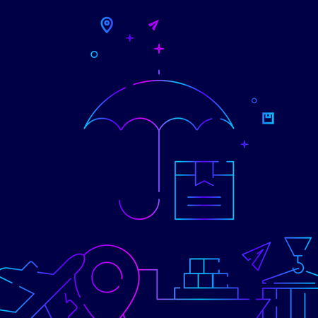Cargo Insurance Line Icon. Umbrella and Package Box Gradient Symbol, Pictogram, Sign. Dark Blue Background. Light Abstract Geometric Background. Related Bottom Border