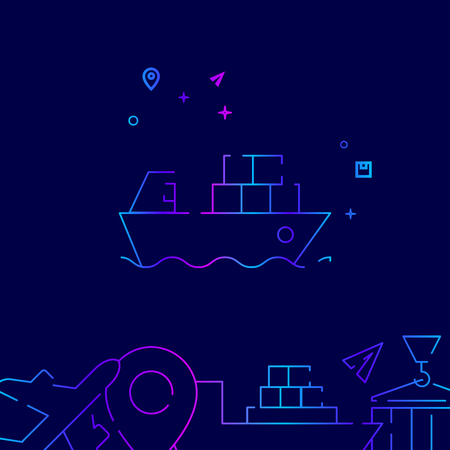 Container Ship Vector Line Icon. Shipping Gradient Symbol, Pictogram, Sign. Dark Blue Background. Light Abstract Geometric Background. Related Bottom Border