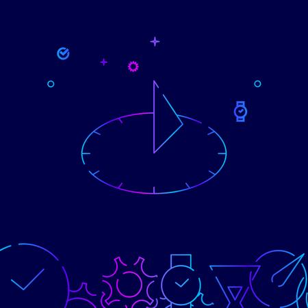 Icône De Ligne De Vecteur De Cadran Solaire. Symbole de gradient d'horloge solaire antique, pictogramme, signe. Fond bleu foncé. Fond géométrique abstrait clair. Bordure inférieure associée Vecteurs