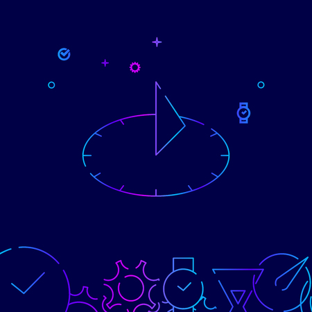 Sundial Vector Line Icon. Ancient Sun Clock Gradient Symbol, Pictogram, Sign. Dark Blue Background. Light Abstract Geometric Background. Related Bottom Border