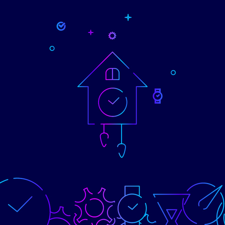 Cuckoo Clock Vector Line Icon. Vintage Wooden Wall Clock Gradient Symbol, Pictogram, Sign. Dark Blue Background. Light Abstract Geometric Background. Related Bottom Border