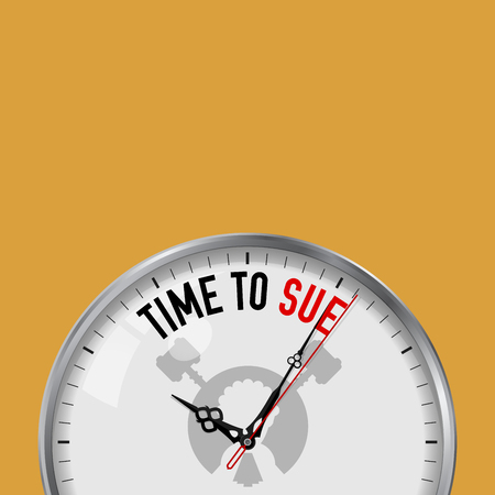 Time to Sue. White Vector Clock with Motivational Slogan. Analog Metal Watch with Glass. Vector Illustration Isolated on Solid Color Background. Judge, Lawsuit Icon.