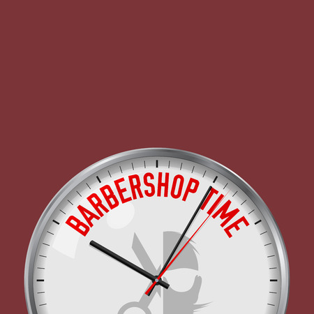 Barbershop Time. White Vector Clock with Motivational Slogan. Analog Metal Watch with Glass. Vector Illustration Isolated on Solid Color Background. Lumber Jack Icon.