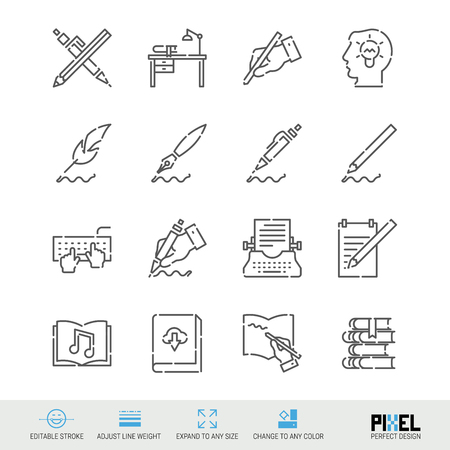 Vector Line Icon Set. Writing, Author, Books Related Linear Icons. Pen and Ink Symbols, Pictograms. Pixel Perfect Design. Editable Stroke. Adjust Line Weight. Expand to Any Size. Change to Any Color.