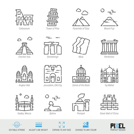 Vector Line Icon Set. World Sights Related Linear Icons. Old Landmarks Symbols, Pictograms, Signs