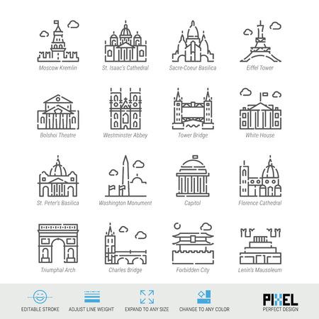 Vektor-Linie-Icon-Set. World Sehenswürdigkeiten verwandte lineare Symbole. Alte Wahrzeichen Symbole, Piktogramme, Schilder Vektorgrafik