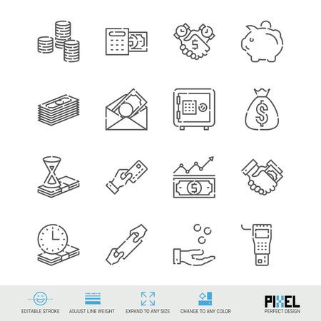 Insieme dell'icona di linea del vettore. Icone lineari relative ai soldi. Simboli finanziari, pittogrammi, segni. Pixel design perfetto. Tratto modificabile. Regola lo spessore della linea. Espandi a qualsiasi dimensione. Cambia in qualsiasi colore.