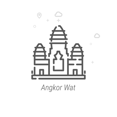 Angkor Wat, Cambodia Vector Line Icon, Symbol, Pictogram, Sign. Light Abstract Geometric Background. Editable Stroke Illustration