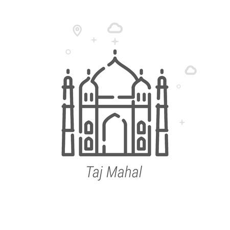 Taj Mahal, India Vector Line Icon, Symbol, Pictogram, Sign. Light Abstract Geometric Background. Editable Stroke