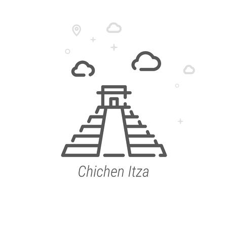 Chichen Itza, Mexico Vector Line Icon, Symbol, Pictogram, Sign. Light Abstract Geometric Background. Editable Stroke Illustration