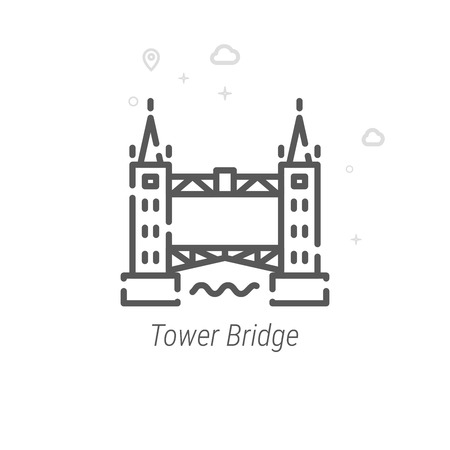 Tower Bridge, London Vector Line Icon. Historical Landmarks Symbol, Pictogram, Sign. Light Abstract Geometric Background. Editable Stroke. Adjust Line Weight. Design with Pixel Perfection.