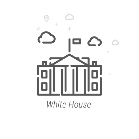 White House, Washington DC Vector Line Icon. Historical Landmarks Symbol, Pictogram, Sign. Light Abstract Geometric Background. Editable Stroke. Adjust Line Weight. Design with Pixel Perfection.