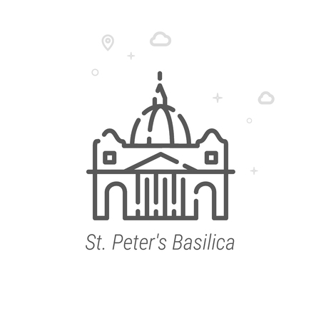 St. Peter's Basilica, Rome Vector Line Icon. Historical Landmarks Symbol, Pictogram, Sign. Light Abstract Geometric Background. Editable Stroke. Adjust Line Weight. Design with Pixel Perfection. Vectores