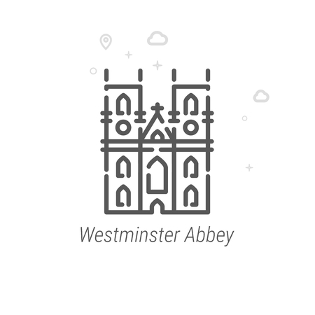Westminster Abbey, London Vector Line Icon. Historical Landmarks Symbol, Pictogram, Sign. Light Abstract Geometric Background. Editable Stroke. Adjust Line Weight. Design with Pixel Perfection.