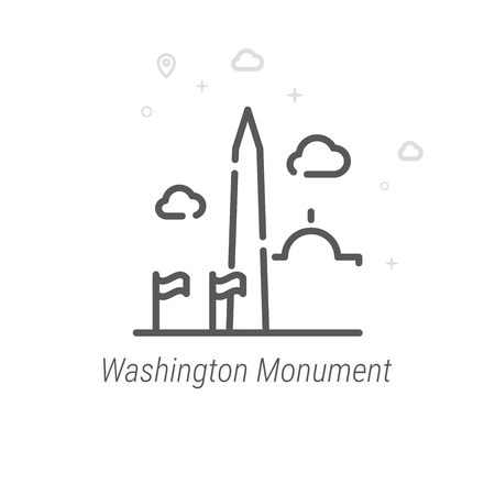 Washington Monument, USA Vector Line Icon. Historical Landmarks Symbol, Pictogram, Sign. Light Abstract Geometric Background. Editable Stroke. Adjust Line Weight. Design with Pixel Perfection. Illustration