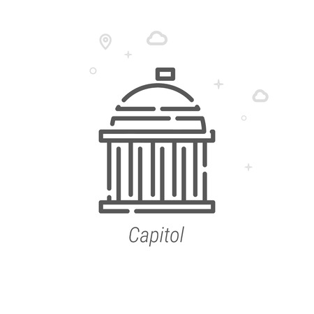 United States Capitol Vector Line Icon. Historical Landmarks Symbol, Pictogram, Sign. Light Abstract Geometric Background. Editable Stroke. Adjust Line Weight. Design with Pixel Perfection.