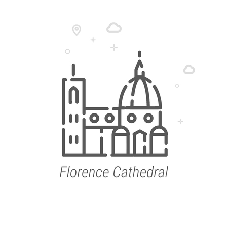 Florence Cathedral, Italy Vector Line Icon. Historical Landmarks Symbol, Pictogram, Sign. Light Abstract Geometric Background. Editable Stroke. Adjust Line Weight. Design with Pixel Perfection.