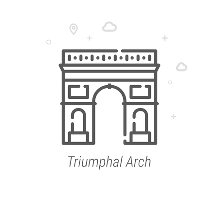 Triumphal Arch, Paris Vector Line Icon. Historical Landmarks Symbol, Pictogram, Sign. Light Abstract Geometric Background. Editable Stroke. Adjust Line Weight. Design with Pixel Perfection. Ilustrace