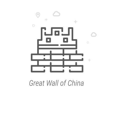 Great Wall of China Vector Line Icon. Historical Landmarks Symbol, Pictogram, Sign. Light Abstract Geometric Background. Editable Stroke. Adjust Line Weight. Design with Pixel Perfection.