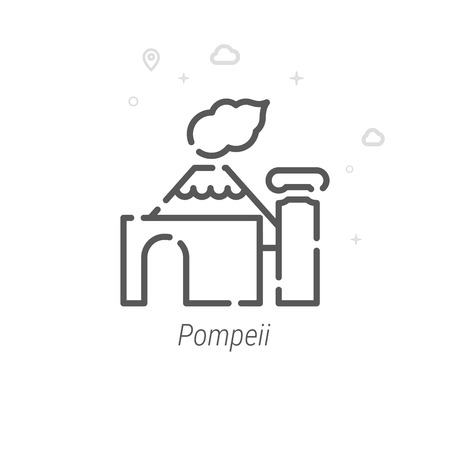 Pompeii, Italy Vector Line Icon. Historical Landmarks Symbol, Pictogram, Sign. Light Abstract Geometric Background. Editable Stroke. Adjust Line Weight. Design with Pixel Perfection. Vettoriali