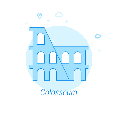Colosseum, Rome, Italy Flat Vector Icon. Historical Landmarks Related Illustration. Light Flat Style. Blue Monochrome Design. Editable Stroke. Adjust Line Weight. Design with Pixel Perfection. Illustration