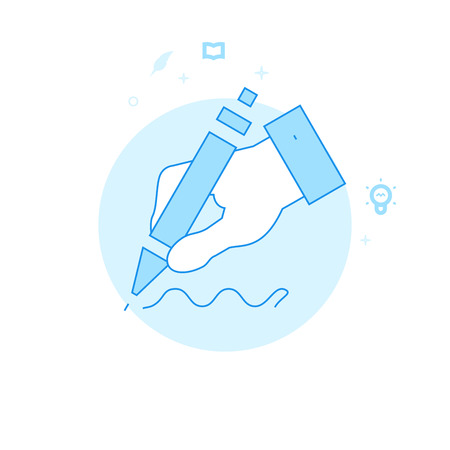 Hand Holding a Pen Flat Vector Icon. Writing, Authors or Education Related Illustration. Light Flat Style. Blue Monochrome Design. Editable Stroke. Adjust Line Weight. Design with Pixel Perfection. Vettoriali