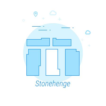 Stonehenge, England Flat Vector Icon. Historical Landmarks Related Illustration. Light Flat Style. Blue Monochrome Design. Editable Stroke. Adjust Line Weight. Design with Pixel Perfection. Illustration