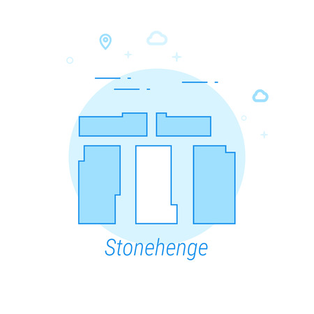 Stonehenge, England Flat Vector Icon. Historical Landmarks Related Illustration. Light Flat Style. Blue Monochrome Design. Editable Stroke. Adjust Line Weight. Design with Pixel Perfection. Ilustrace