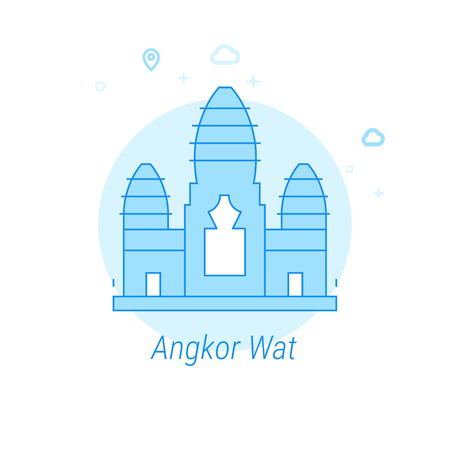 Angkor Wat, Cambodia Flat Vector Icon. Historical Landmarks Related Illustration. Light Flat Style. Blue Monochrome Design. Editable Stroke. Adjust Line Weight. Design with Pixel Perfection.