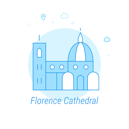 Florence Cathedral, Italy Flat Vector Icon. Historical Landmarks Related Illustration. Light Flat Style. Blue Monochrome Design. Editable Stroke. Adjust Line Weight. Design with Pixel Perfection. 矢量图像