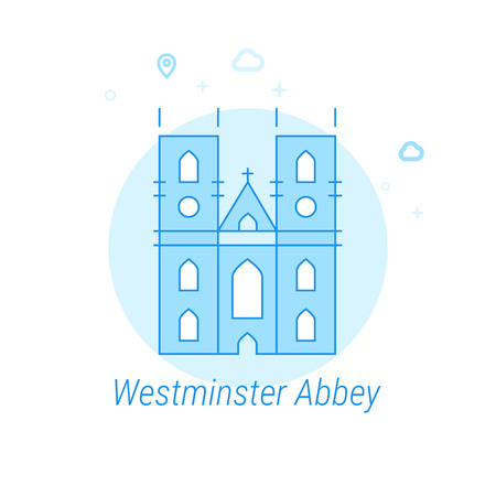 Westminster Abbey, London Flat Vector Icon. Historical Landmarks Related Illustration. Light Flat Style. Blue Monochrome Design. Editable Stroke. Adjust Line Weight. Design with Pixel Perfection.