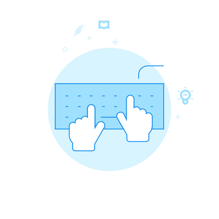 Hands Typing on Keyboard Flat Vector Icon. Working or Programming Related Illustration. Light Flat Style. Blue Monochrome Design. Editable Stroke. Adjust Line Weight. Design with Pixel Perfection.