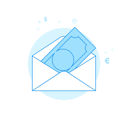 Money Envelope Flat Vector Icon. Money and Finance Illustration. Light Flat Style. Blue Monochrome Design. Editable Stroke. Adjust Line Weight. Design with Pixel Perfection.