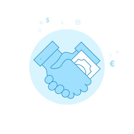 Bribe, Transfer of Money, Handshake Flat Vector Illustration, Icon. Light Blue Monochrome Design. Editable Stroke