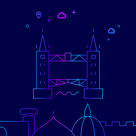 Tower Bridge, London Vector Line Illustration. Historical Landmarks Gradient Icon, Symbol, Pictogram, Sign. Dark Blue Background. Light Abstract Geometric Background. Related Bottom Border Ilustrace