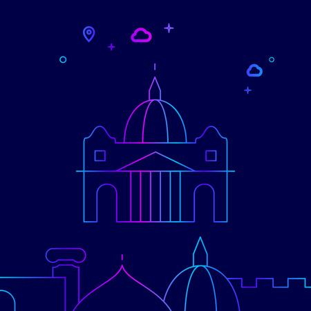 St. Peters Basilica, Rome Vector Line Illustration. Historical Landmarks Gradient Icon, Symbol, Pictogram, Sign. Dark Blue Background. Light Abstract Geometric Background. Related Bottom Border Illustration