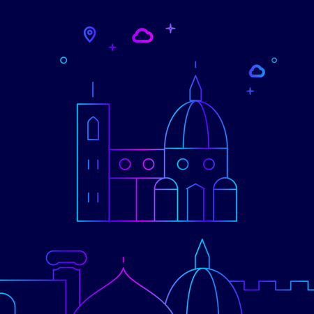 Florence Cathedral, Italy Vector Line Illustration. Historical Landmarks Gradient Icon, Symbol, Pictogram, Sign. Dark Blue Background. Light Abstract Geometric Background. Related Bottom Border